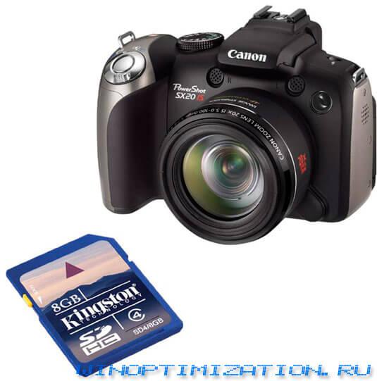 С помощью фотокамеры Canon можно восстановить SD-накопитель