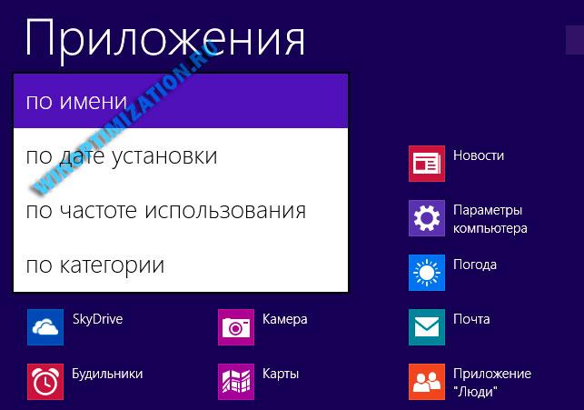 Способы сортировки приложений начального экрана Windows 8.1