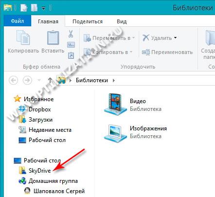 SkyDrive интегрирован в проводник Windows 8.1