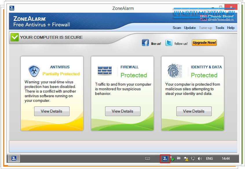Основное окно и интерфейс ZoneAlarm Free antivirus Firewall