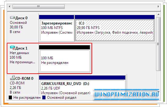 Созданный виртуальный жесткий диск
