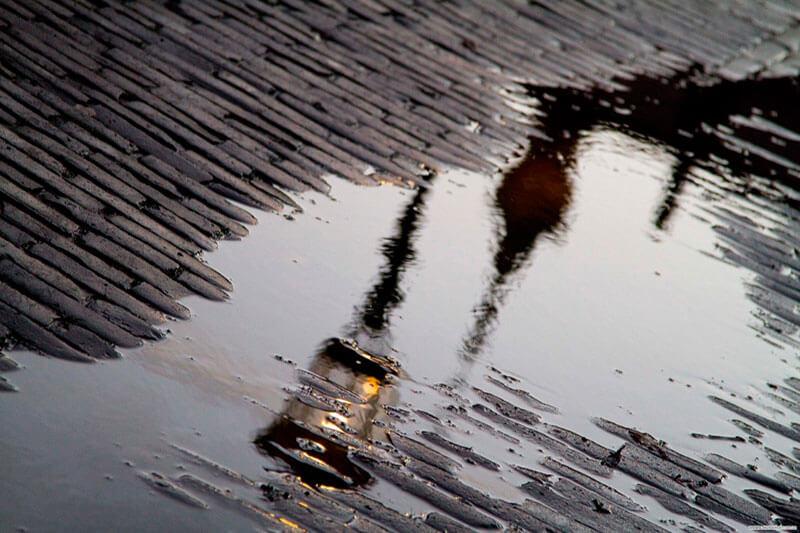 Оторожение в луже - съемка в дождь